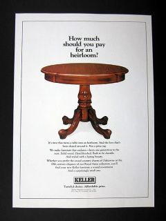 Keller Solid Wood Furniture table 1986 print Ad advertisement