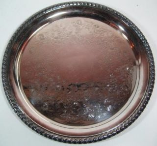 Vintage William Rogers Wm Silver Plated Round Platter 8