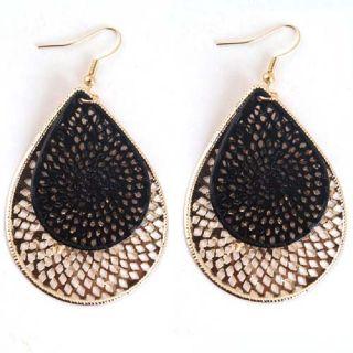 Black Gold Water Drop Shape Shinning Dangle Earring Jewelry