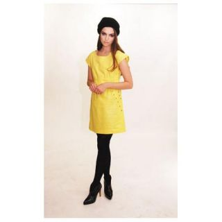 Rachel Bilsons Edie Rose by DKNY Shimmering Yellow Sleeveless Dress