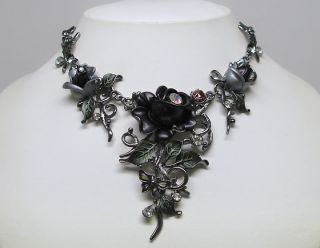 Black Tulip Flower Crystal Necklace Earrings Set S0455