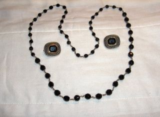 Vintage Costume Jewelry Silver Black Necklace Earrings