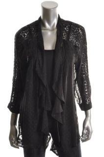 Daniel Rainn New Black Sheer Lace Inset Open Front Cardigan Top Shirt