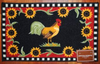 Black Rooster Rug Flower Country Chicken Mat Farm New