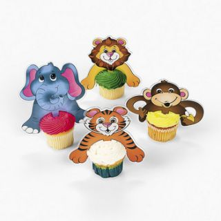 12 Zoo Animal Cup Cake Toppers Dozen Kids Birthday Party Monkey