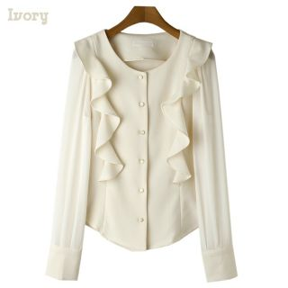 Ruffles Chiffon Sleeve Blouses Womens Shirts Elegance Shirred Tops New