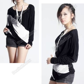 Womens Batwing Long Sleeve T Shirt Tops Blouses Three Color