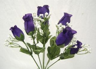 84 Purple Silk Roses Buds Wedding Bouquet Flowers Bud Bush No Dew
