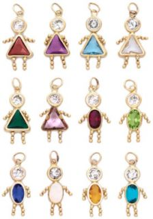 Gold Birthstone Boy or Girl Kids Child Pendant Charm with Stone