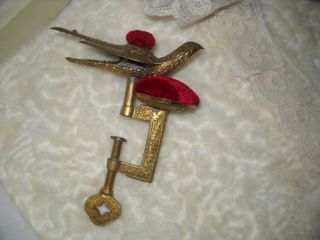 Beautiful Ornate Antique Sewing Bird Double Pin Cushion