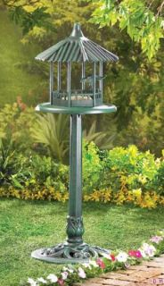 verdigris finish gazebo standing bird feeder