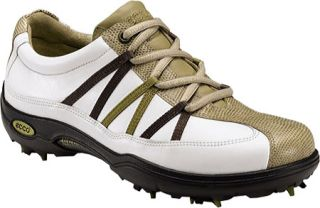 WOMENS ECCO CASUAL PITCH RIBBON GOLF SHOES WHITE SAND BISON 38 7 7.5
