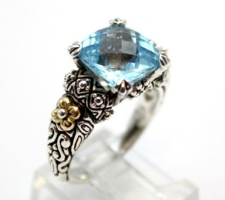 Barbara Bixby Blue Topaz Sterling Silver 925 and 18K Yellow Gold Ring