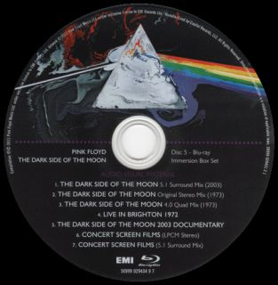 PINK FLOYD The Dark Side of the Moon BLU RAY IMMERSION Disc 5 5 1