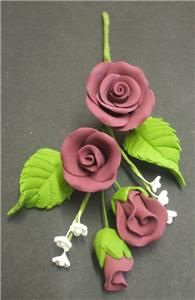 Burgundy Sugar Rose Spray Wedding Birthday Anniversary Cake Topper