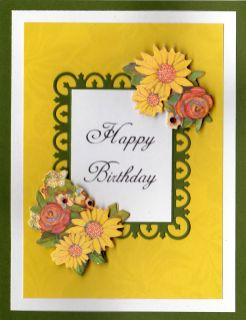 HAPPY BIRTHDAY Handmade Greeting Card YELLOW RED FLOWERS BLANK INSIDE