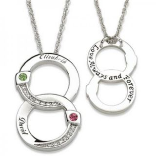 Personalized Couples Entwined Circles Name Birthstone Pendant Necklace