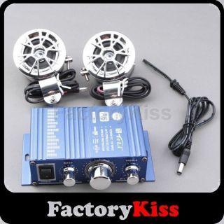 SM 30W Blue Car Motorcycle Bike Mini Audio Stereo Amplifier 2 Speakers