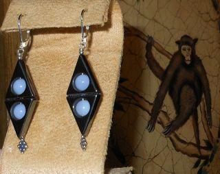 Sterling Silver Blue Chalcedony Hematite Earring Bezel Dangle