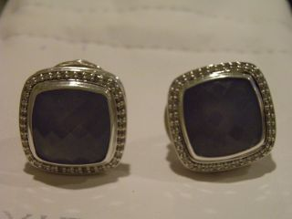 David Yurman 14mm Blue Chalcedony Diamond Earrings