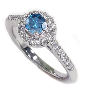 Genuine 90 Ct Blue Diamond Pave Halo Engagement Ring 14k White Gold 4