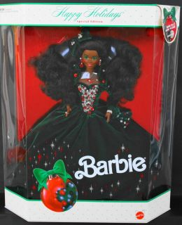 1991 Happy Holidays Black Barbie Doll African American