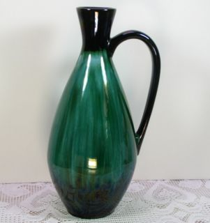Blue Mountain Pottery BMP Green Black Huge Large 13 Tall Pitcher Vase
