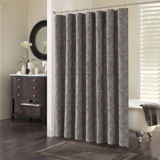 Allen Home SEBASTIAN Luxury Jacquard Shower Curtain Paisley Brown Blue