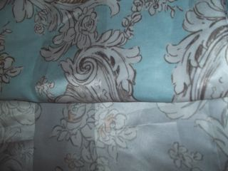 Fabric Shower Curtain Silver Light Blue Paisley Print Bathroom