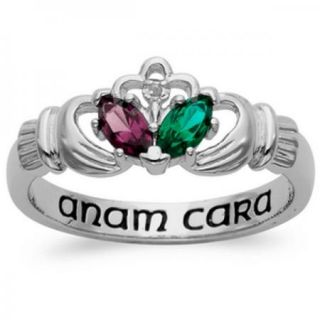 PERSONALIZED COUPLES STERLING SILVER CLADDAGH BIRTHSTONE RING
