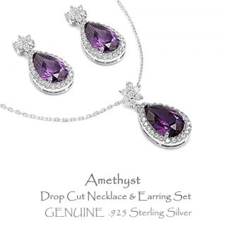 Drop Stone Earring Necklace Set Silver February Birthstone