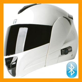 Torc Blinc III T22B Modular Bluetooth EDR 2 0 Motorcycle Helmet White