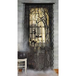 Spooky Lighted Lace Black Curtain Halloween Party Yard Decoration