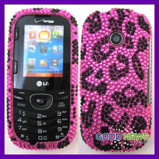 LG Cosmos 2 VN251 Pink Leopard Bling Cubics Hard Case Phone Cover