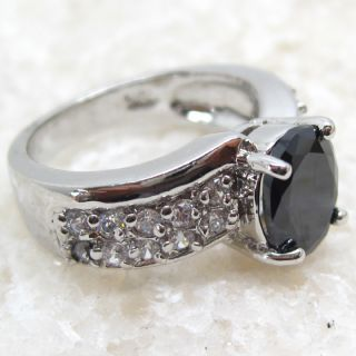 Magic Fashion Black Sapphire Silver Gemstone Jewelry Ring Size 6 5