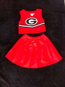 Georgia Bulldog Cheerleader Red Black Halloween Costume 2 Piece Outfit