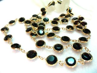 Black Bezel Set Swarovski Crystal Necklace Stunning Estate Jewelry