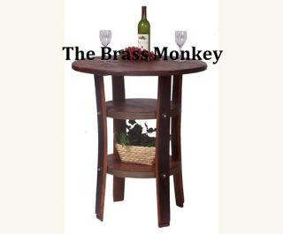 Style Wine Barrel Bistro Pub Rustic Solid Wood Bistro Table