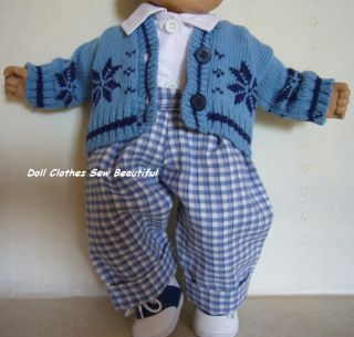Doll Clothes Fits Bitty Baby Boy Girl Twins Matching Snowflake Outfits