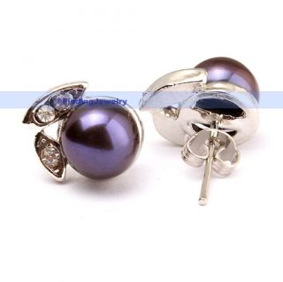 Black Pearl Stud Earrings w Swarovski Crystal Low Price High Quality