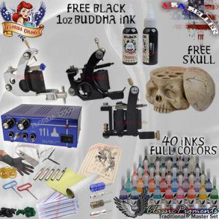 Kit Dual Power Supply 3 Machine 40 Colors Set Free Black Buddha