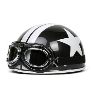 Motorcycle Scooter Half Helmet Black White Star