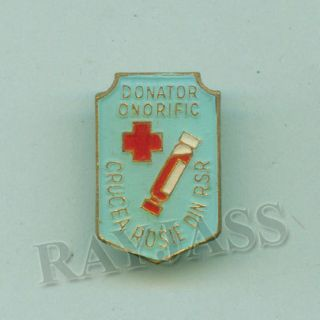 Red Cross Pin Romania Society Blood Donor 1980S