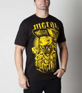 Metal Mulisha Skull Chief T Shirt Black Yellow Mens Clothing Skull FMX