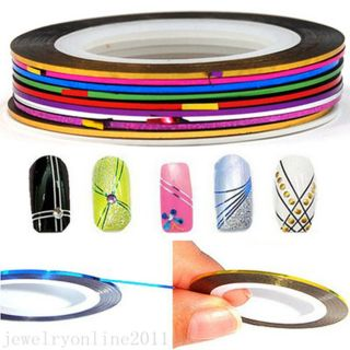 Mixed 30 Colors Rolls Striping Tape Line Nail Art Decoration Sticker