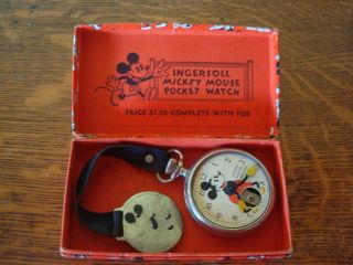 Vintage 1930s Ingersoll Mickey Mouse Pocket Watch with Original Box