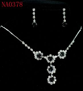 Refined Black Rose Crystal Necklace Earrings Set  NA0378
