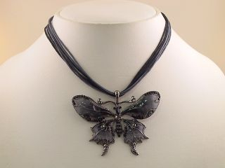 Jet Black Butterfly Pendant Necklace Earrings Set S0336