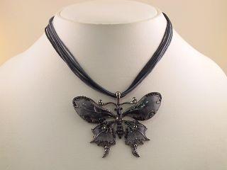 Jet Black Butterfly Pendant Necklace Earrings Set S0336