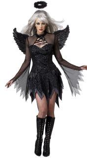 E89 Ladies Black Fallen Dark Angel Halloween Fancy Dress Costume Halo